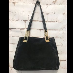 Escada Black Suede/Leather Shoulder Bag